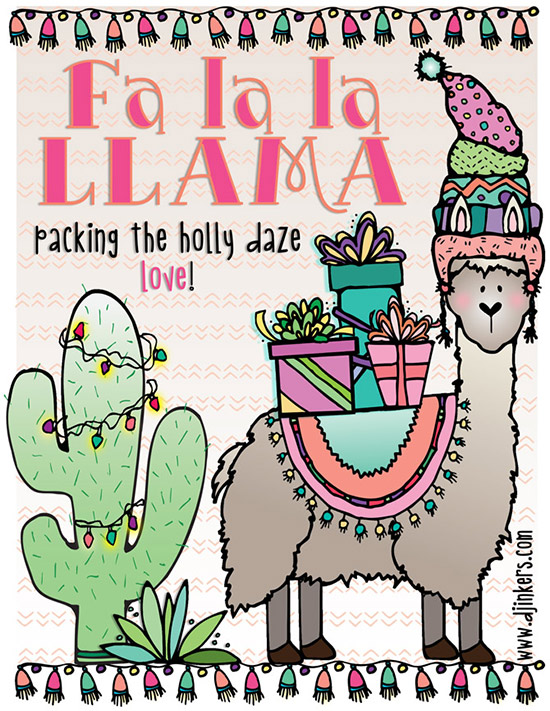 Fa la la la Llama cute holiday clip art