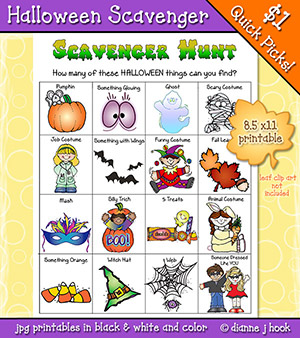 kids Halloween scavenger hunt printable