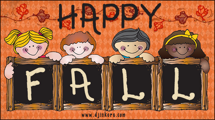 Happy Fall clip art for kids and classrooms