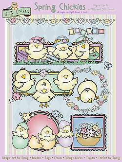 Spring Chickies Clip Art Download