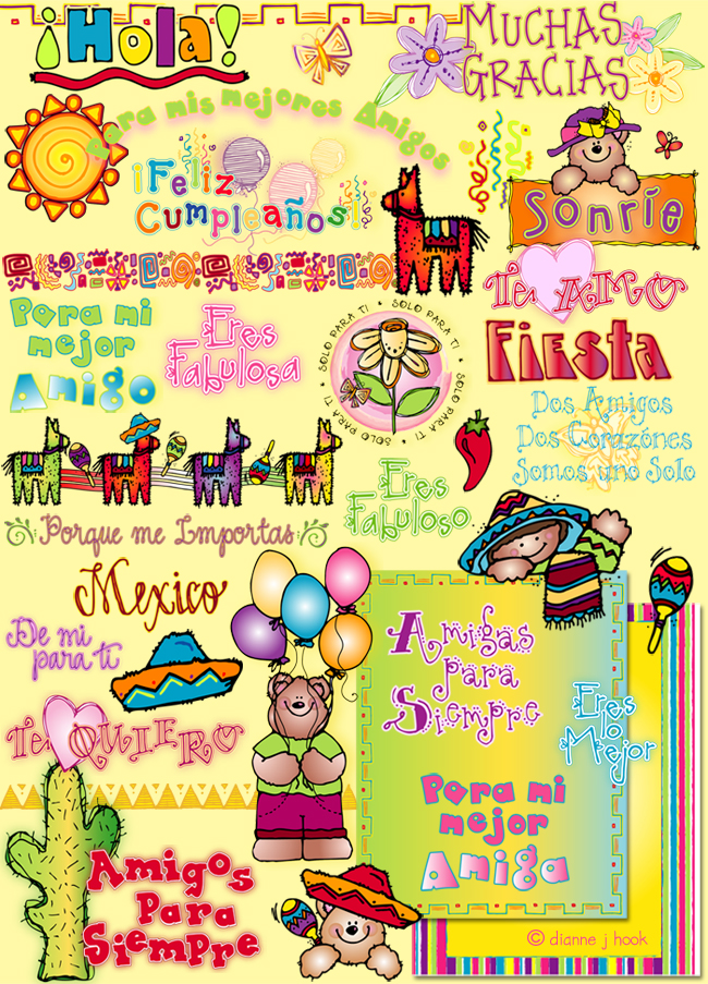 Cute Spanish clip art, borders & sayings with a Mexican zing by DJ Inkers