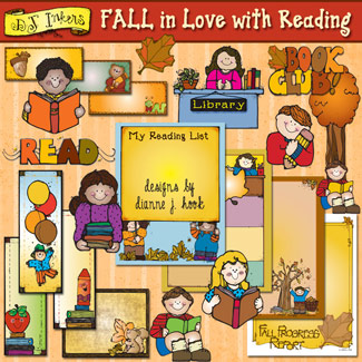 Fall In Love With Reading Clip Art and Printables