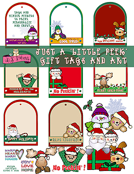 Little Peek Gift Tags and Clip Art Download
