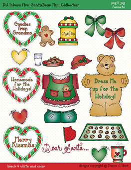 Mrs. Santa Bear Clip Art Download