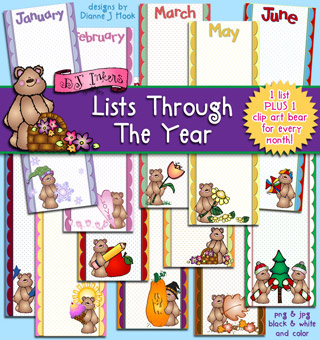 Lists Through The Year Clip Art and Printables