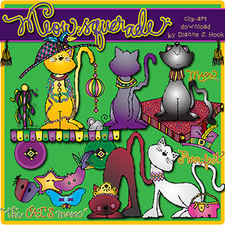 Meow-squerade Dress-Up Cats Clip Art Download