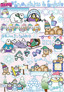 Snowflakes and Smiles Clip Art Download
