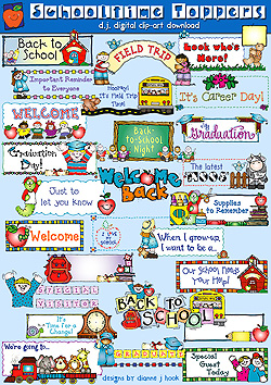 School Time Toppers Clip Art Download