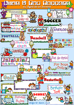 Kids and Fun Toppers Clip Art Download