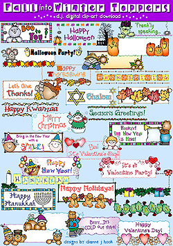 Fall Into Winter Toppers Clip Art Download