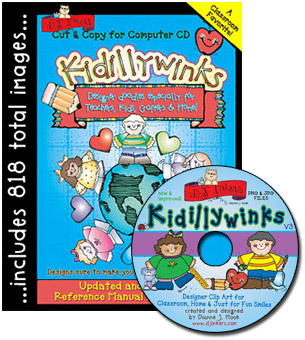 Kidillywinks School Clip Art CD