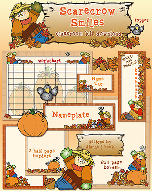 Scarecrow Smiles Classroom Borders and Printables Download