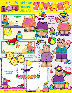 Weather Bears Summer Clip art Download