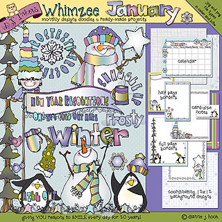 January Whimzee Clip Art, Borders and Fun Download