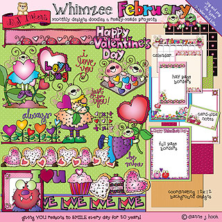 February Whimzee Clip Art, Borders and Fun Download