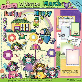 March Whimzee Clip Art, Borders and Fun Download