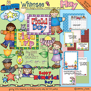 May Whimzee Clip Art, Borders and Fun Download