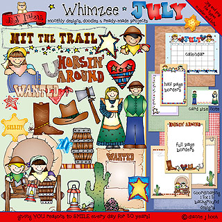 July Whimzee Clip Art, Borders and Fun Download