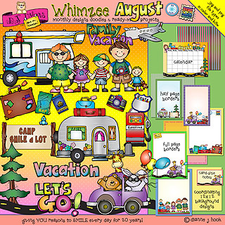 August Whimzee Clip Art, Borders and Fun Download