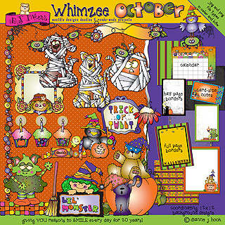 October Whimzee Clip Art, Borders and Fun Download