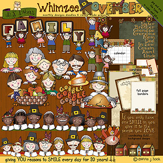 November Whimzee Clip Art, Borders and Fun Download