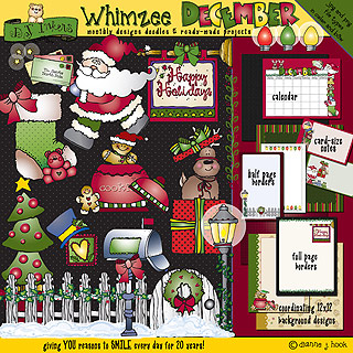 December Whimzee Clip Art, Borders and Fun Download