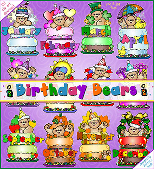 Birthday Bears Clip Art Download