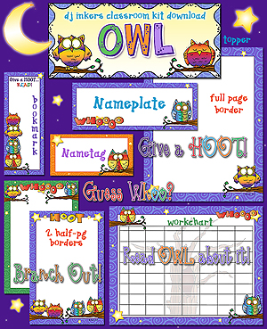 Owl Classroom Borders and Printables Download