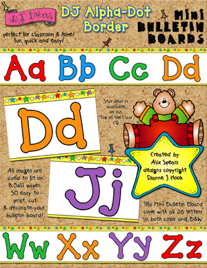 DJ Alpha-Dot Border Printable Bulletin Board
