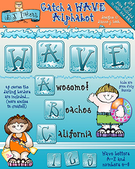 Catch A Wave Clip Art Alphabet Download
