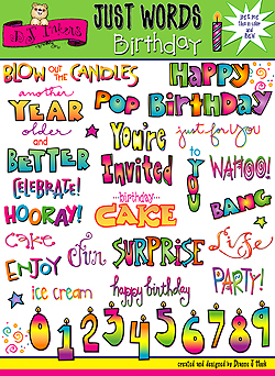 Birthday Words Clip Art Download