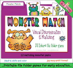 Monster Match File Folder Game Download