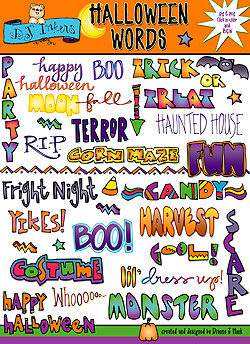 Halloween Words Clip Art Download