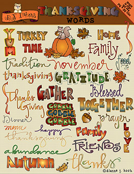 Thanksgiving Words Clip Art Download