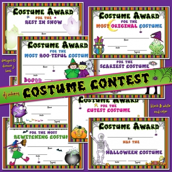 Costume Contest certificates for Halloween with clip art by DJ Inkers