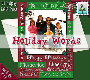 Holiday Words Photo Card Download
