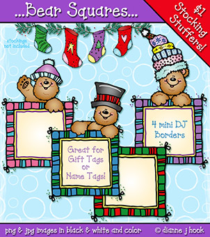 Bear Squares Holiday Clip Art Download