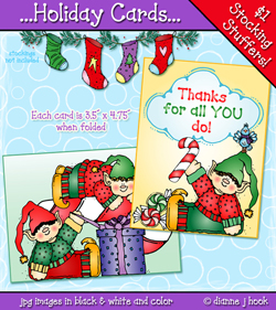 Holiday Elf Cards Printables Download