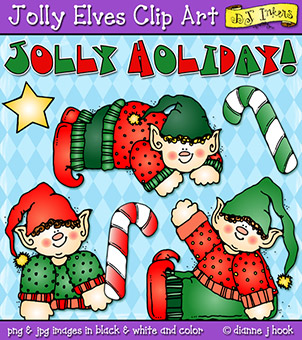 Jolly Elves Holiday Clip Art Download