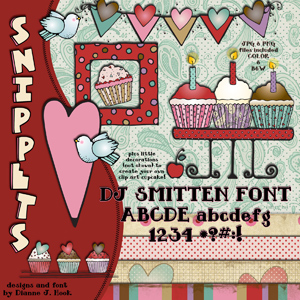 Love 'n Cupcakes Clip Art Snippets, Font and Printables