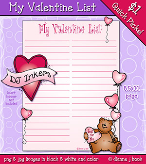My Valentine List Printable Download