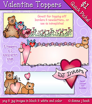 Valentine Toppers Clip Art Download