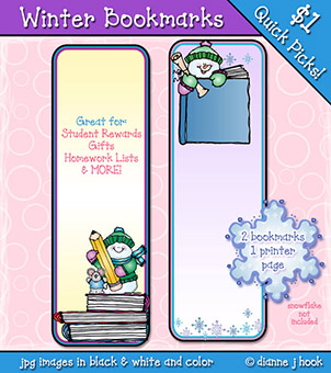 Winter Bookmarks Printable Download