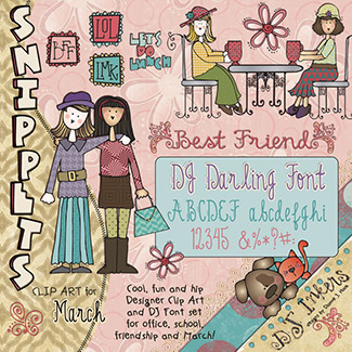 Best Friends Clip Art Snippets, Font and Printables