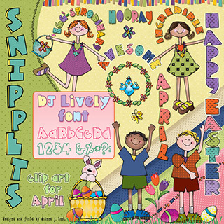 Spring Kids Clip Art Snippets, Font and Printables