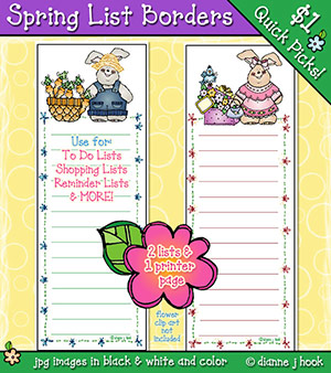 Spring List Borders Clip Art Download