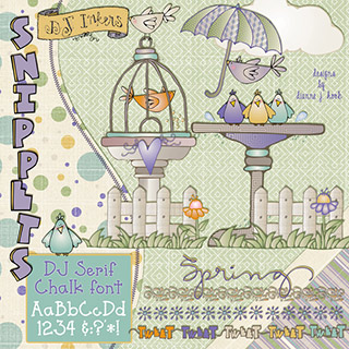For The Birds Clip Art Snippets, Font and Printables