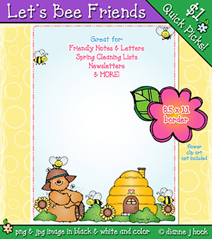 Let's Bee Friends Clip Art Border Download