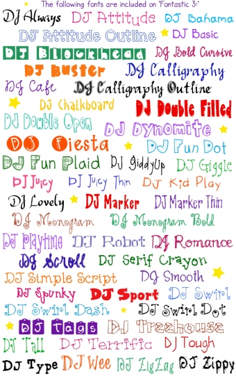 DJ Inkers Fontastic 3 has 50 fun fonts for typing smiles at home, school or office.