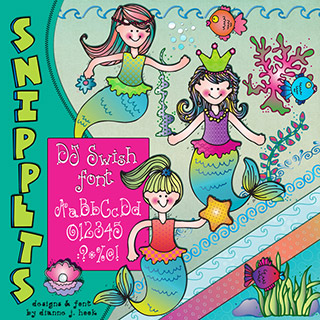 Mermaid Clip Art Snippets, Font and Printables